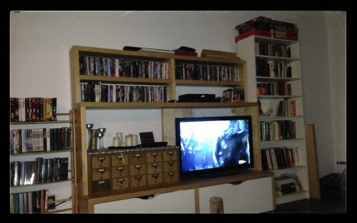 Result of this weekend's furniture rearranging. Still need another bookcase for all my gender and race studies books.