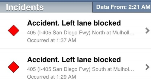 On the last leg of my trip, two accidents about 50 feet apart on different sides of the freeway.